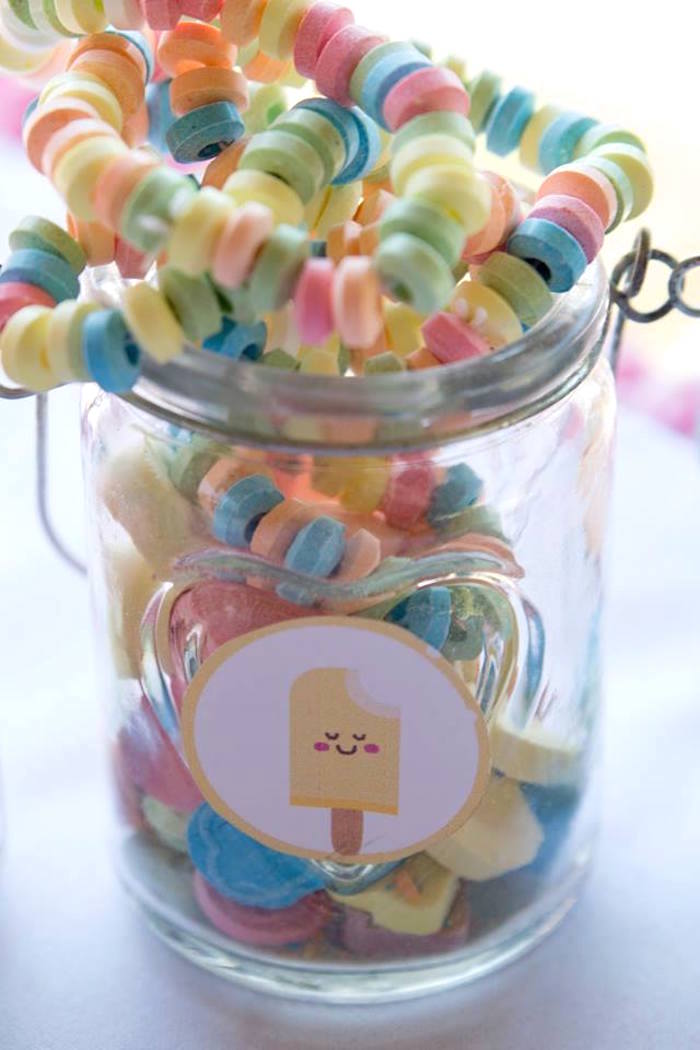 Candy Necklace Jar from a Pastel Ice Cream Birthday Party on Kara's Party Ideas | KarasPartyIdeas.com (24)