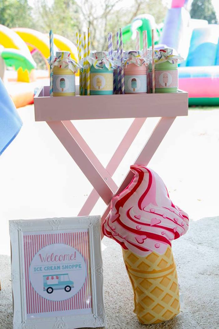 Ice Cream Themed Beverage Table from a Pastel Ice Cream Birthday Party on Kara's Party Ideas | KarasPartyIdeas.com (23)