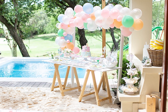 Mermaid Themed Dessert Table from a Pastel Mermaid Birthday Party on Kara's Party Ideas | KarasPartyIdeas.com (17)
