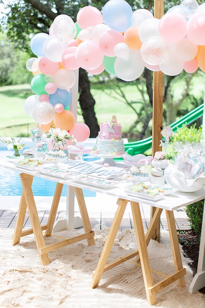 Mermaid Themed Dessert Table from a Pastel Mermaid Birthday Party on Kara's Party Ideas | KarasPartyIdeas.com (16)