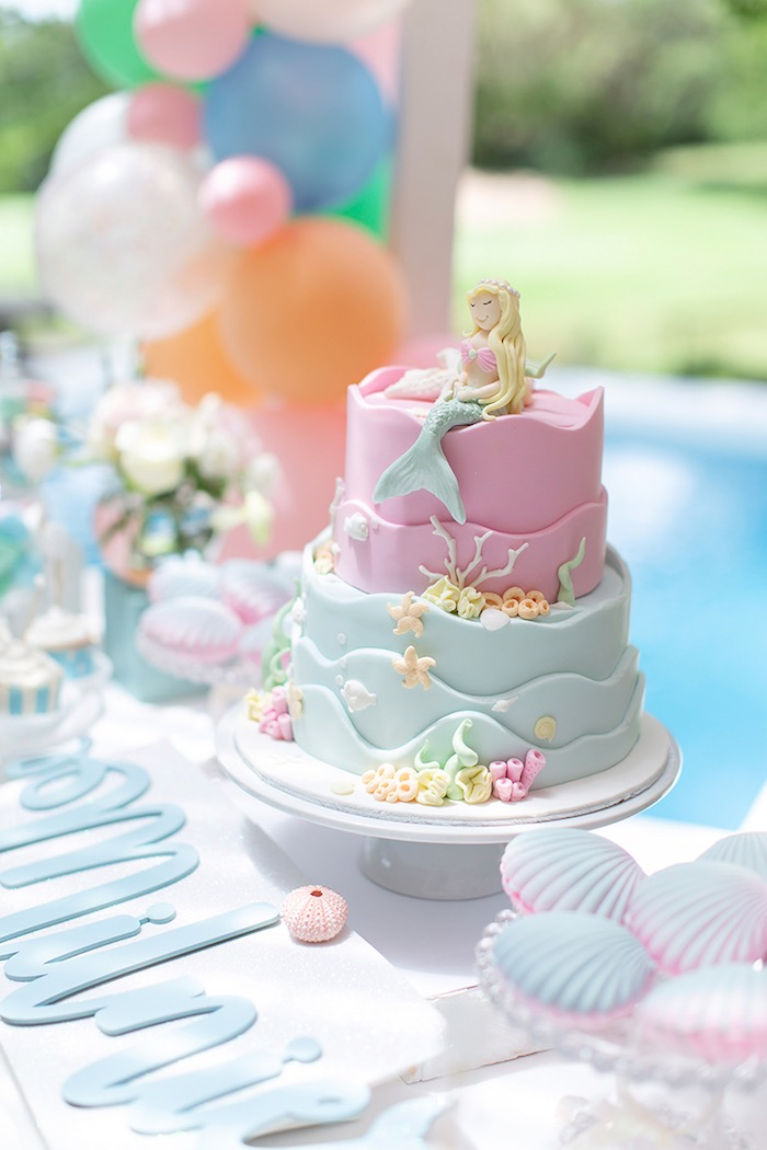 Mermaid Cake from a Pastel Mermaid Birthday Party on Kara's Party Ideas | KarasPartyIdeas.com (11)