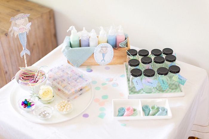 Activity Table from a Pastel Mermaid Birthday Party on Kara's Party Ideas | KarasPartyIdeas.com (8)