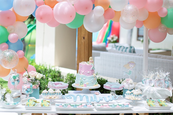 Mermaid Party Table from a Pastel Mermaid Birthday Party on Kara's Party Ideas | KarasPartyIdeas.com (26)