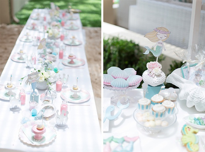 Under the Sea Party Table from a Pastel Mermaid Birthday Party on Kara's Party Ideas | KarasPartyIdeas.com (24)