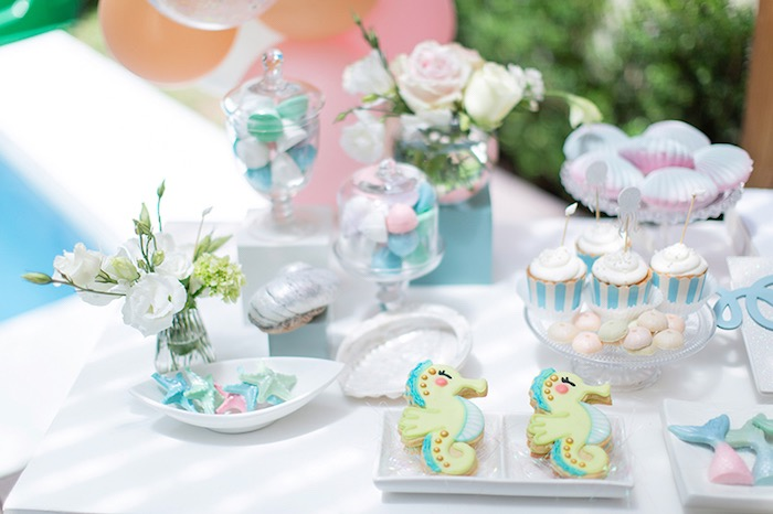Under the Sea Dessert Table from a Pastel Mermaid Birthday Party on Kara's Party Ideas | KarasPartyIdeas.com (23)