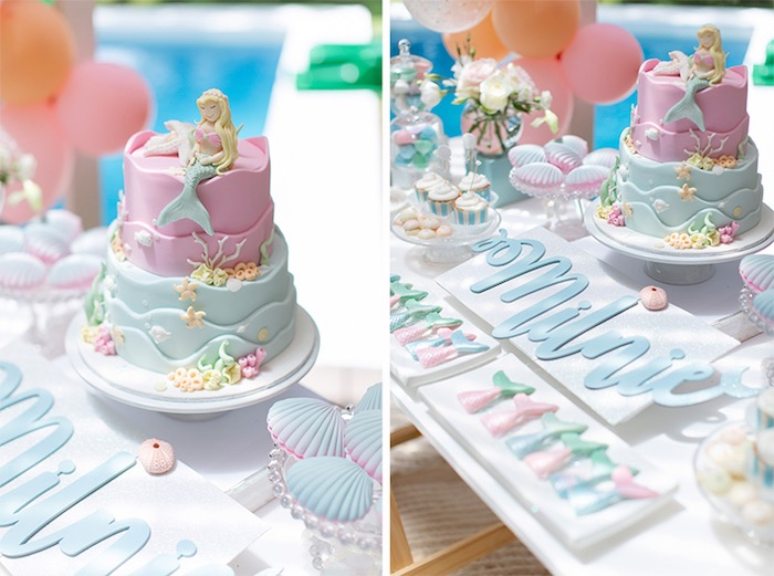 Mermaid Cake from a Pastel Mermaid Birthday Party on Kara's Party Ideas | KarasPartyIdeas.com (22)
