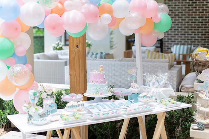 Mermaid Themed Dessert Table from a Pastel Mermaid Birthday Party on Kara's Party Ideas | KarasPartyIdeas.com (19)