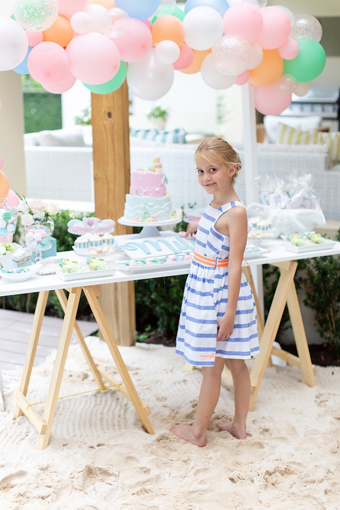 Mermaid Themed Party Table from a Pastel Mermaid Birthday Party on Kara's Party Ideas | KarasPartyIdeas.com (18)