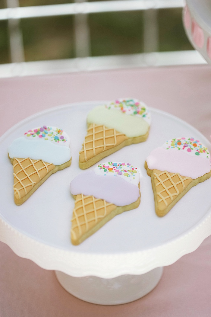 Ice Cream Cone Cookies from a Pastel Sweet 2nd Birthday Party on Kara's Party Ideas | KarasPartyIdeas.com (22)