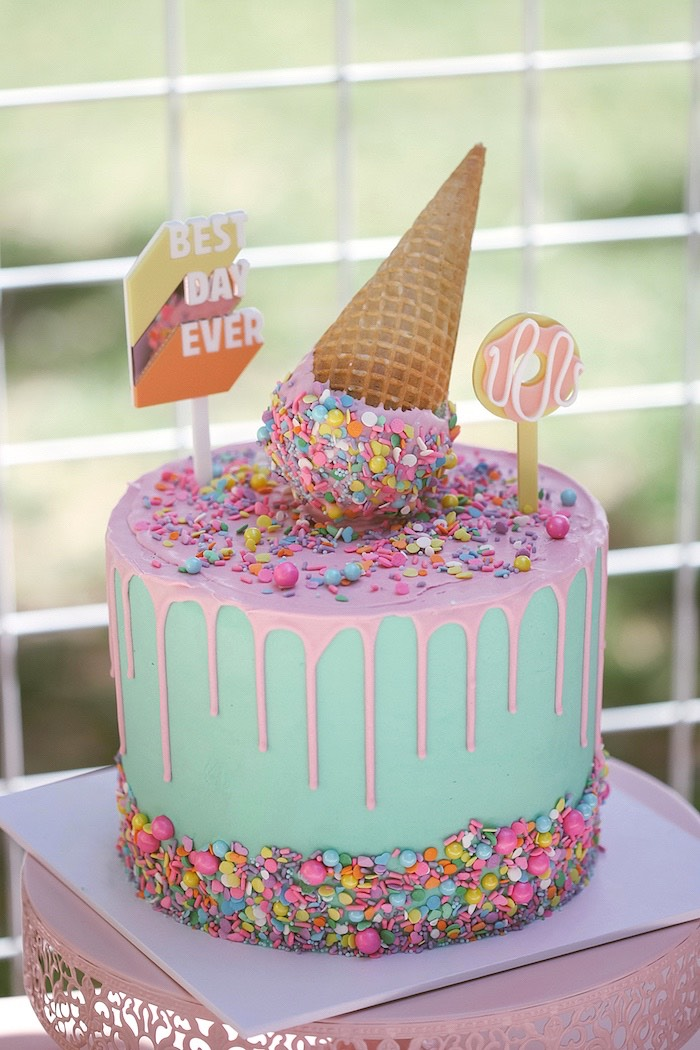 Ice Cream Cone Drip Cake from a Pastel Sweet 2nd Birthday Party on Kara's Party Ideas | KarasPartyIdeas.com (16)