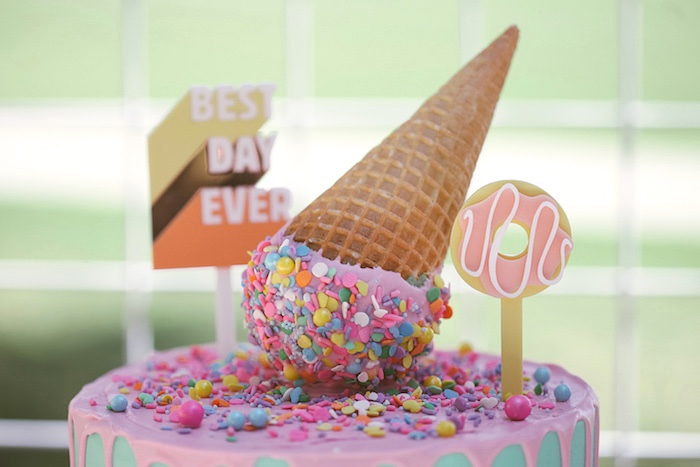 Ice Cream Cone Cake Topper from a Pastel Sweet 2nd Birthday Party on Kara's Party Ideas | KarasPartyIdeas.com (15)