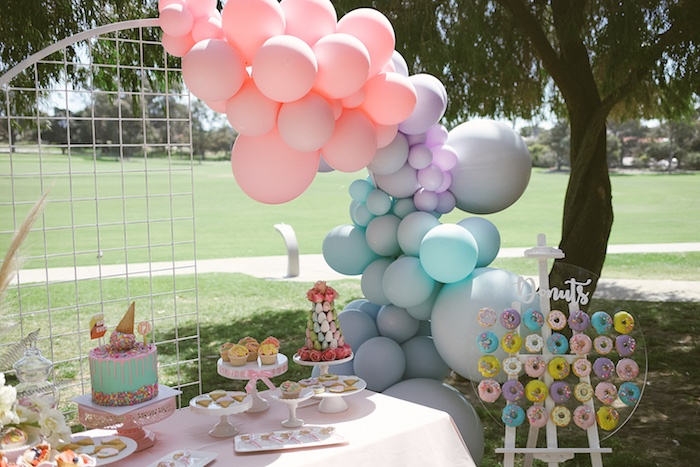 Pastel Dessert Table from a Pastel Sweet 2nd Birthday Party on Kara's Party Ideas | KarasPartyIdeas.com (10)