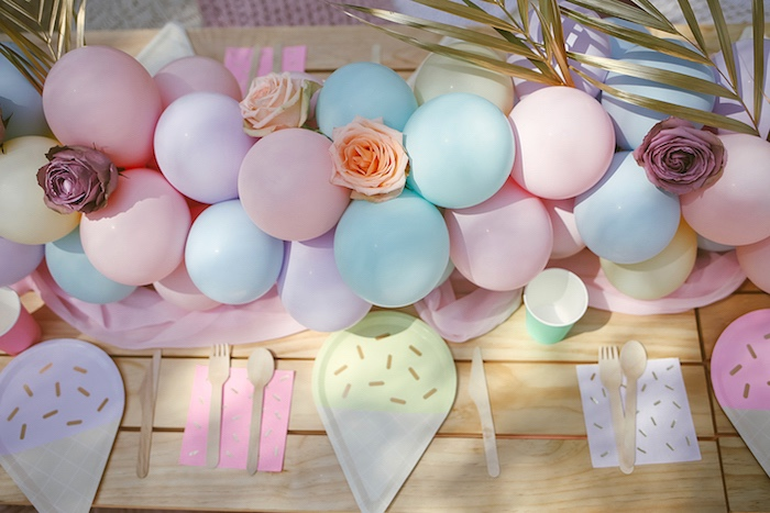 Balloon Party Table from a Pastel Sweet 2nd Birthday Party on Kara's Party Ideas | KarasPartyIdeas.com (9)