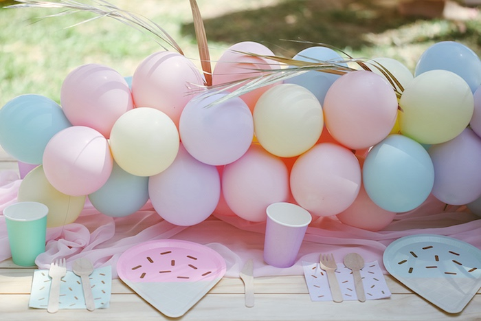 Pastel Balloon Garland + Guest Table from a Pastel Sweet 2nd Birthday Party on Kara's Party Ideas | KarasPartyIdeas.com (34)