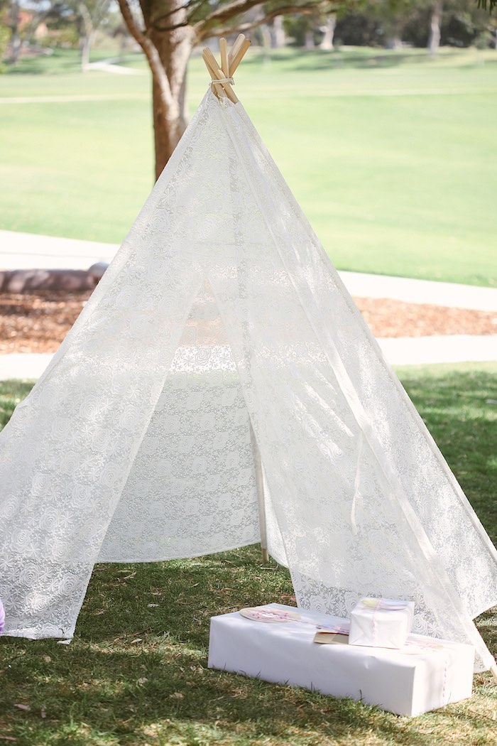 White Lace Tent from a Pastel Sweet 2nd Birthday Party on Kara's Party Ideas | KarasPartyIdeas.com (32)