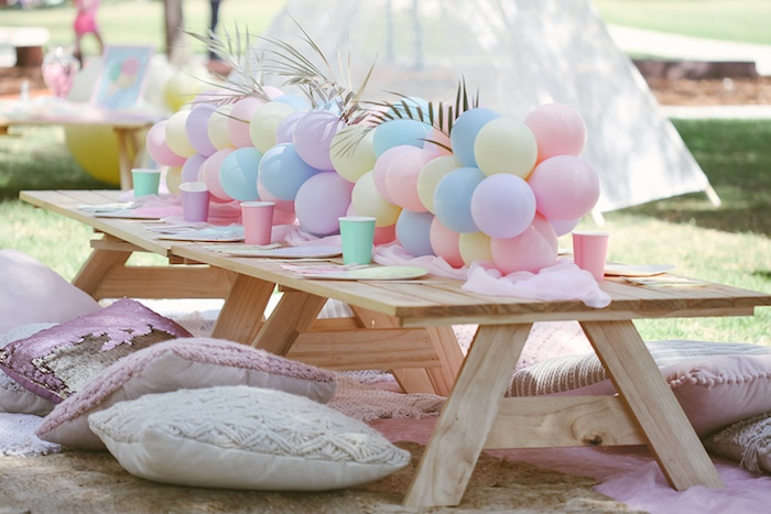 Pastel Picnic Party Table from a Pastel Sweet 2nd Birthday Party on Kara's Party Ideas | KarasPartyIdeas.com (28)