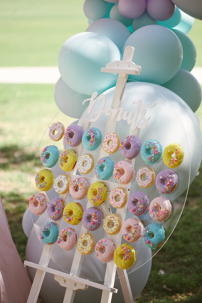 Acrylic Donut Board from a Pastel Sweet 2nd Birthday Party on Kara's Party Ideas | KarasPartyIdeas.com (27)