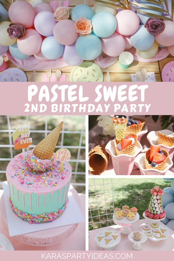 Tremendous Karas Party Ideas Pastel Sweet 2Nd Birthday Party Karas Party Funny Birthday Cards Online Fluifree Goldxyz