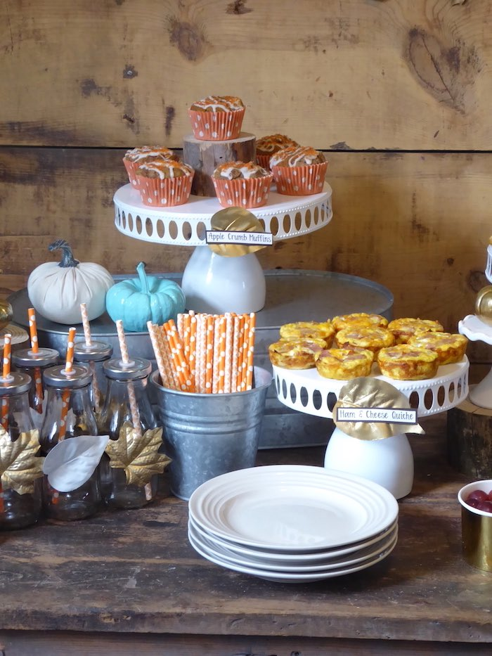 Quiche and muffins from a Rustic Fall Breakfast Bar on Kara's Party Ideas | KarasPartyIdeas.com