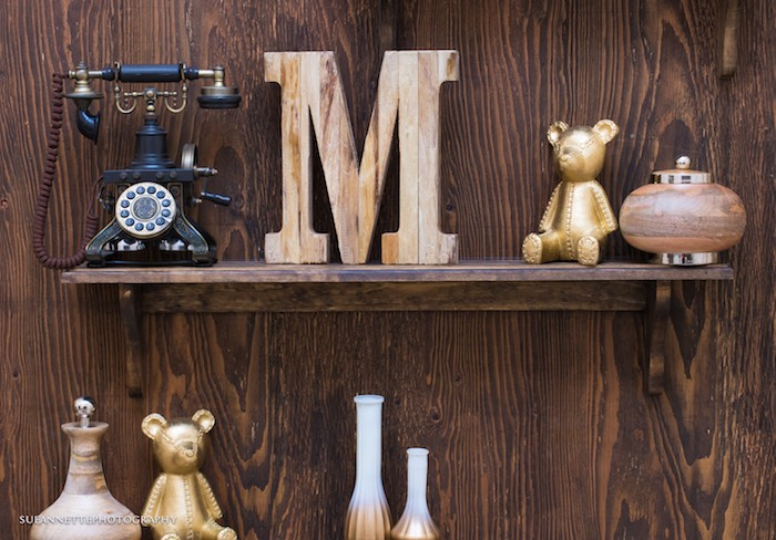 Gold Teddy Bear Decor from a Rustic Teddy Bear Baby Shower on Kara's Party Ideas | KarasPartyIdeas.com (31)