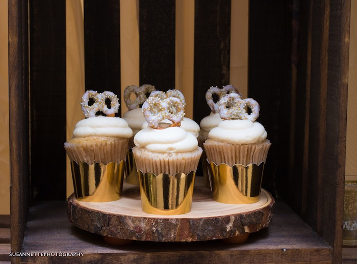Pretzel-topped Cupcakes from a Rustic Teddy Bear Baby Shower on Kara's Party Ideas | KarasPartyIdeas.com (29)