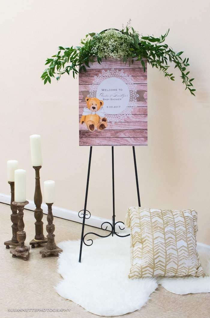 Teddy Bear Welcome Sign from a Rustic Teddy Bear Baby Shower on Kara's Party Ideas | KarasPartyIdeas.com (24)