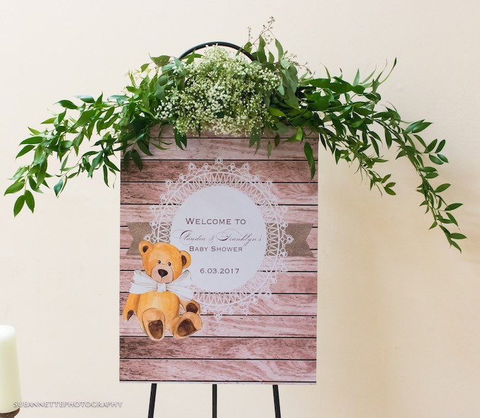 Teddy Bear Welcome Sign from a Rustic Teddy Bear Baby Shower on Kara's Party Ideas | KarasPartyIdeas.com (23)