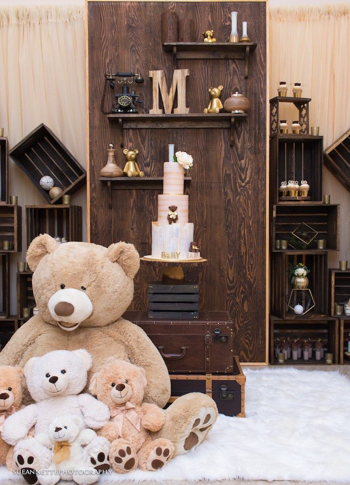 Teddy Bear Suitcase Cake Table from a Rustic Teddy Bear Baby Shower on Kara's Party Ideas | KarasPartyIdeas.com (21)