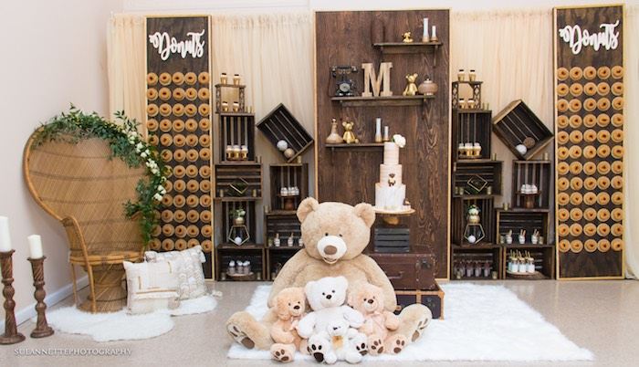 Teddy Bear Themed Sweet Spread from a Rustic Teddy Bear Baby Shower on Kara's Party Ideas | KarasPartyIdeas.com (20)