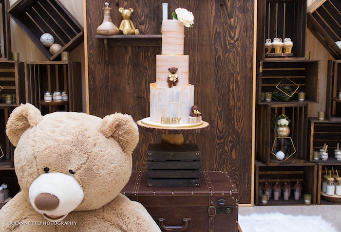 Teddy Bear Cake from a Rustic Teddy Bear Baby Shower on Kara's Party Ideas | KarasPartyIdeas.com (17)