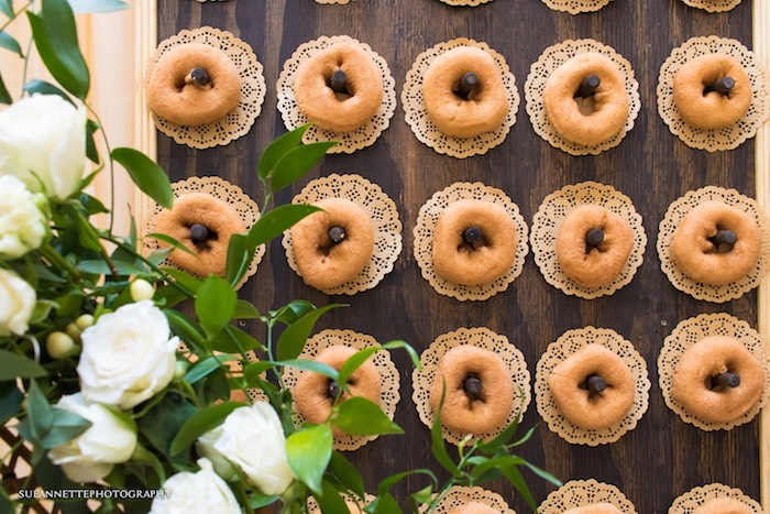 Donuts Placed on Doilies from a Rustic Teddy Bear Baby Shower on Kara's Party Ideas | KarasPartyIdeas.com (16)