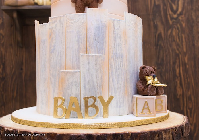 Teddy Bear Cake from a Rustic Teddy Bear Baby Shower on Kara's Party Ideas | KarasPartyIdeas.com (8)