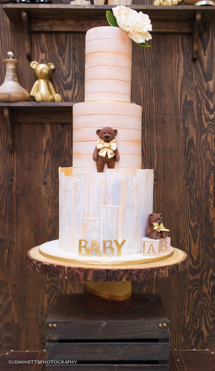 Teddy Bear Cake from a Rustic Teddy Bear Baby Shower on Kara's Party Ideas | KarasPartyIdeas.com (7)