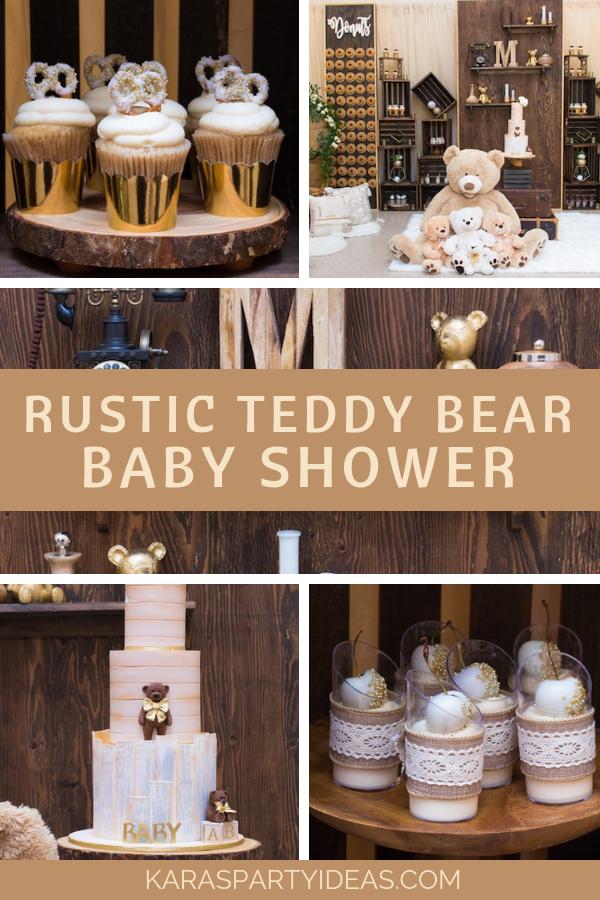Rustic Teddy Bear Baby Shower via Kara's Party Ideas - KarasPartyIdeas.com