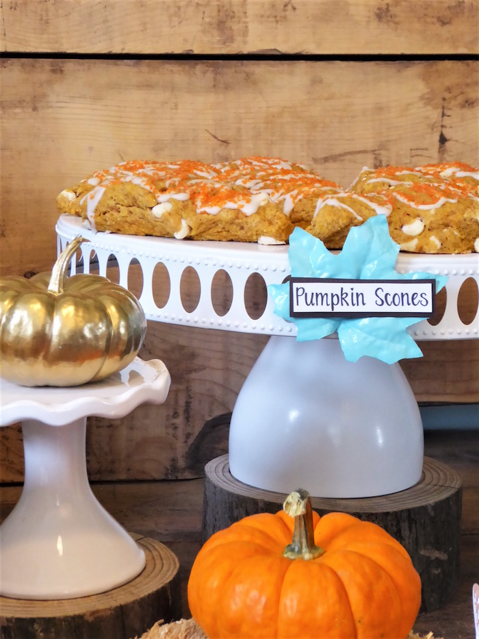 Scones and pumpkins from a Rustic Fall Breakfast Bar on Kara's Party Ideas | KarasPartyIdeas.com