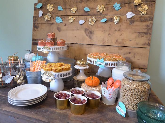 Fall Themed Breakfast Bar from a Rustic Fall Breakfast Bar on Kara's Party Ideas   KarasPartyIdeas.com