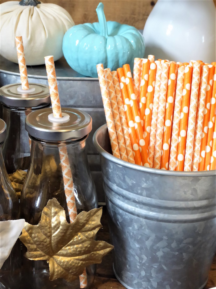 Orange Paper Straws from a Rustic Fall Breakfast Bar on Kara's Party Ideas   KarasPartyIdeas.com