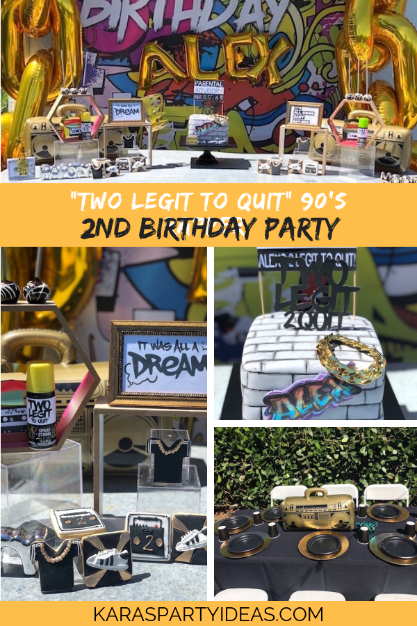 TWO Legit to Quit 90's Rapper 2nd Birthday Party via Kara's Party Ideas - KarasPartyIdeas.com