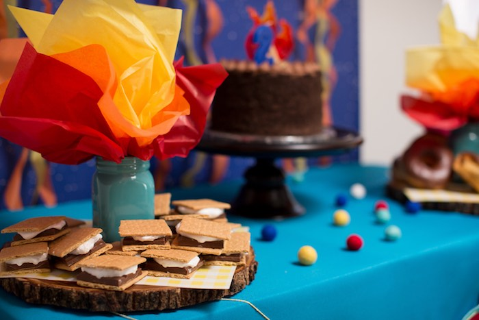 Fire-inspired Dessert Table from a Two Hot Hot Campfire Birthday Party on Kara's Party Ideas | KarasPartyIdeas.com (17)