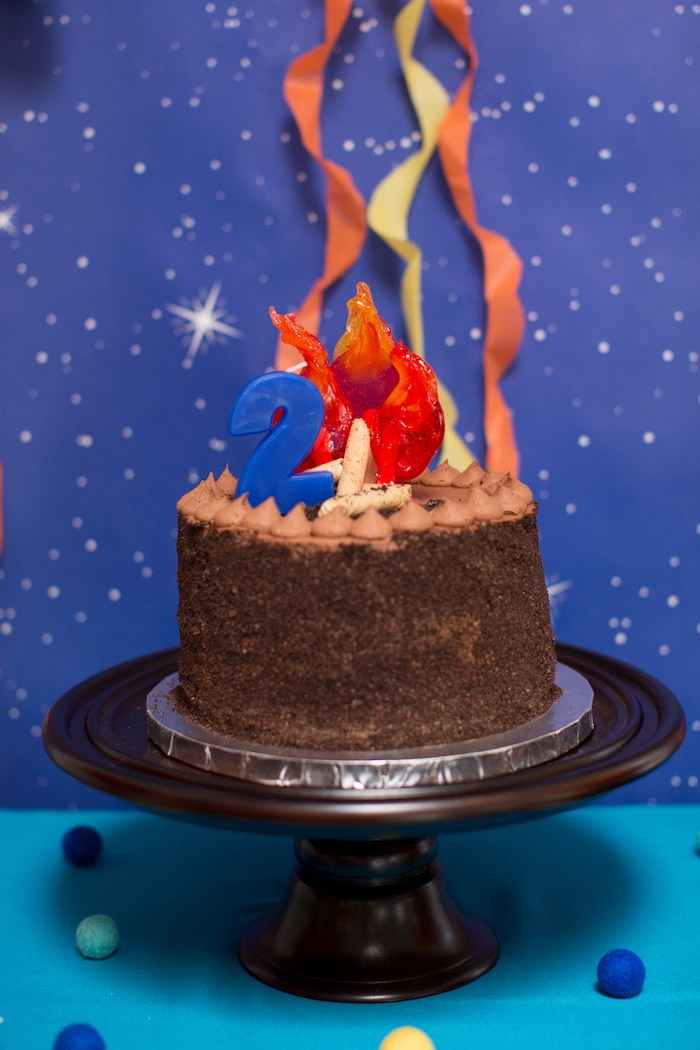 Fire Themed Cake from a Two Hot Hot Campfire Birthday Party on Kara's Party Ideas | KarasPartyIdeas.com (14)