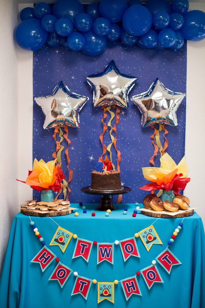 Fire Themed Dessert Table from a Two Hot Hot Campfire Birthday Party on Kara's Party Ideas | KarasPartyIdeas.com (12)