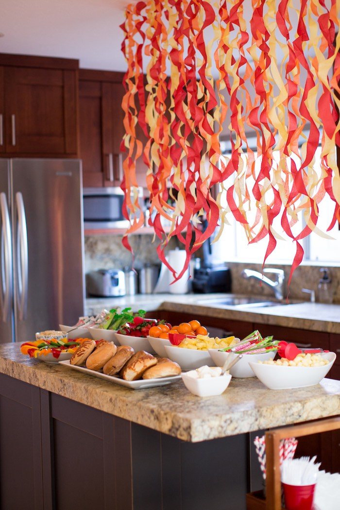 Fire-inspired Food Table from a Two Hot Hot Campfire Birthday Party on Kara's Party Ideas | KarasPartyIdeas.com (11)