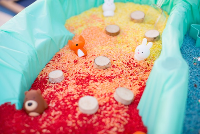 Rice Activity Table from a Two Hot Hot Campfire Birthday Party on Kara's Party Ideas | KarasPartyIdeas.com (7)