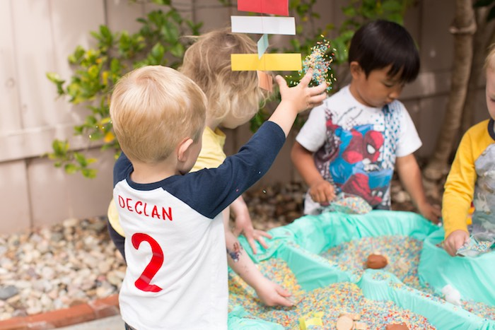 Rice Activity Table from a Two Hot Hot Campfire Birthday Party on Kara's Party Ideas | KarasPartyIdeas.com (5)