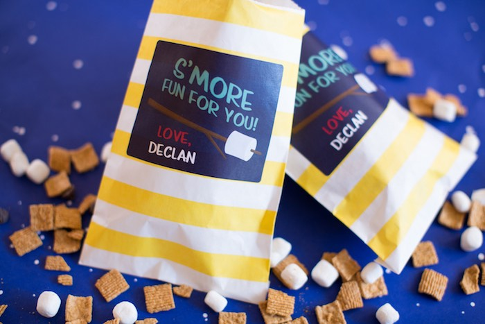 S'more - Cereal & Marshmallow Snack Bags from a Two Hot Hot Campfire Birthday Party on Kara's Party Ideas | KarasPartyIdeas.com (27)