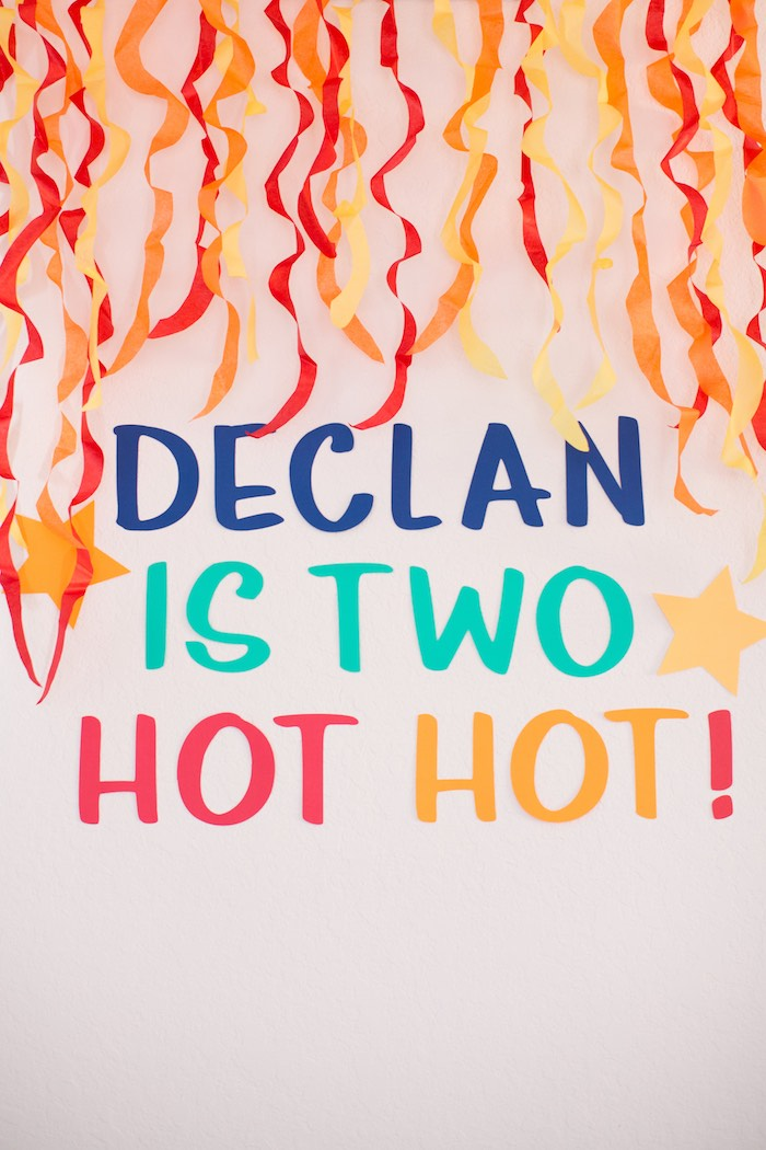 Two Hot Hot Fire Backdrop + Signage from a Two Hot Hot Campfire Birthday Party on Kara's Party Ideas | KarasPartyIdeas.com (25)