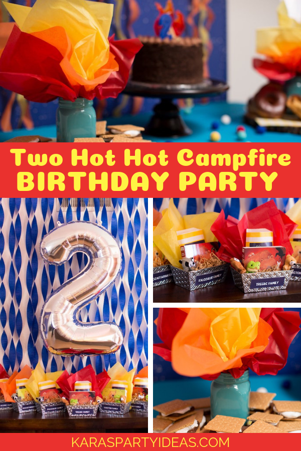 Two Hot Hot Campfire Birthday Party Birthday Party via Kara's Party Ideas - KarasPartyIdeas.com