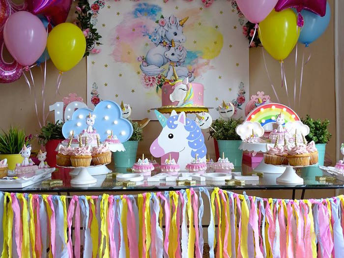 Unicorn Themed Party Table from a Unicorn Princess Birthday Party on Kara's Party Ideas | KarasPartyIdeas.com (9)