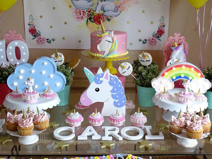 Unicorn Themed Dessert Table from a Unicorn Princess Birthday Party on Kara's Party Ideas | KarasPartyIdeas.com (8)