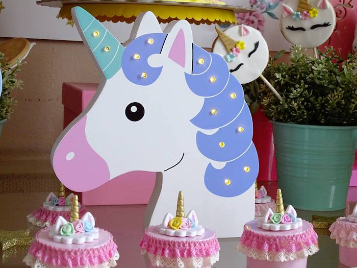 Unicorn Marquee Light from a Unicorn Princess Birthday Party on Kara's Party Ideas | KarasPartyIdeas.com (7)